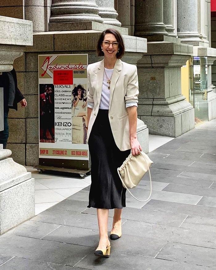 Shirt, blazer, midi skirt and slingback pumps | 40plusstyle.com