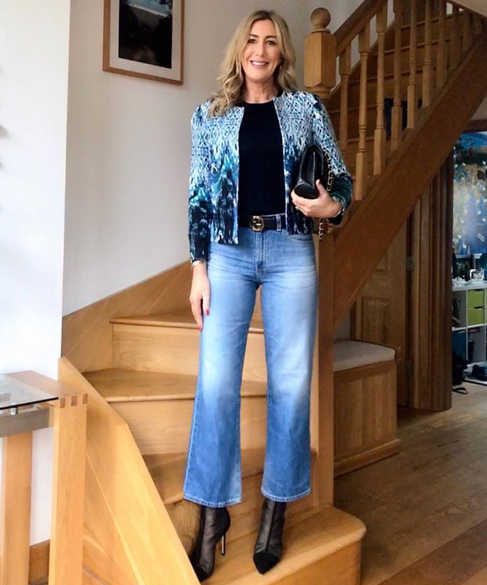 a short jacket and crop flare jeans outfit   40plusstyle.com