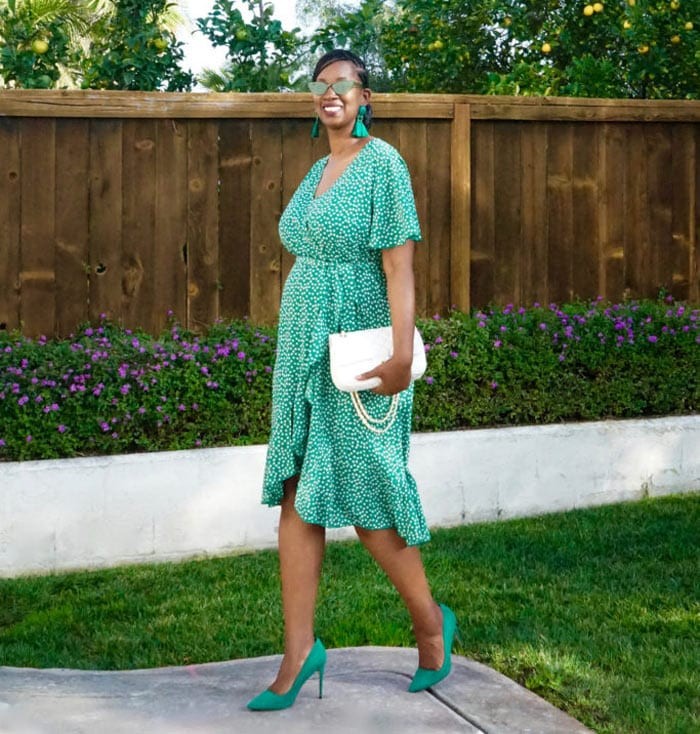 green wrap dress with white accessories   40plusstyle.com