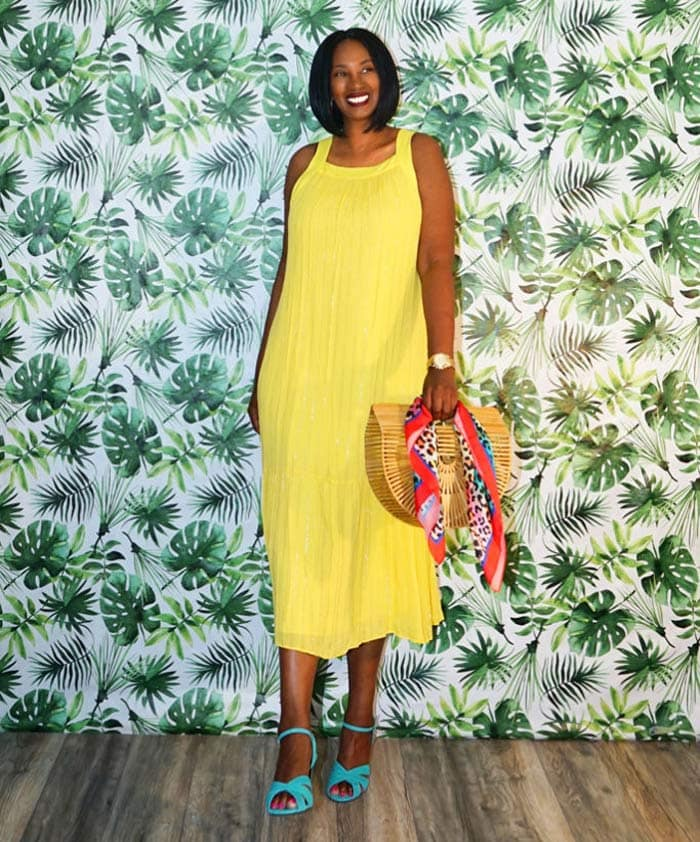 yellow maxi dress outfit | 40plusstyle.com