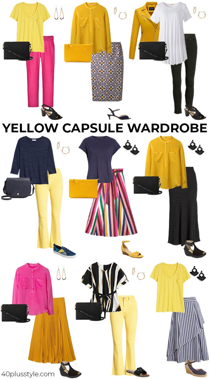 A yellow capsule wardrobe | 40plusstyle.com