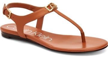How to wear flat shoes - Calvin Klein t-strap sandal | 40plusstyle.com