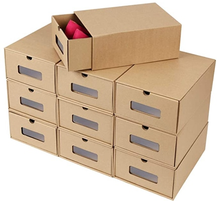 Prasacco Visible Cardboard Shoe Storage Boxes | 40plusstyle.com