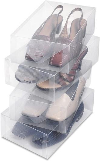 Whitmor Clear  Heavy Duty Stackable Shoe Storage | 40plusstyle.com