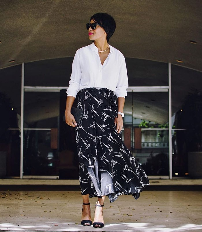 wearing a white shirt with a glamorous midi skirt   40plusstyle.com