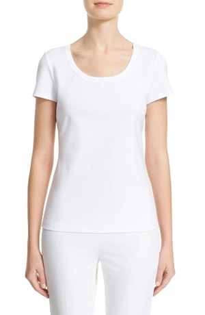 Lafayette 148 New York scoop neck cotton tee | 40plusstyle.com