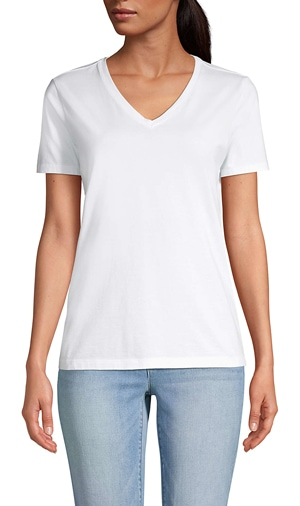 Lands' End relaxed v-neck t-shirt   40plusstyle.com