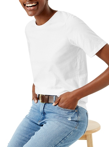 Best white t-shirts - Marks & Spencer pure cotton straight fit t-shirt | 40plusstyle.com