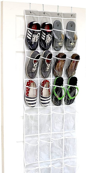 SimpleHouseware Crystal Clear Over The Door Hanging Shoe Organizer | 40plusstyle.com