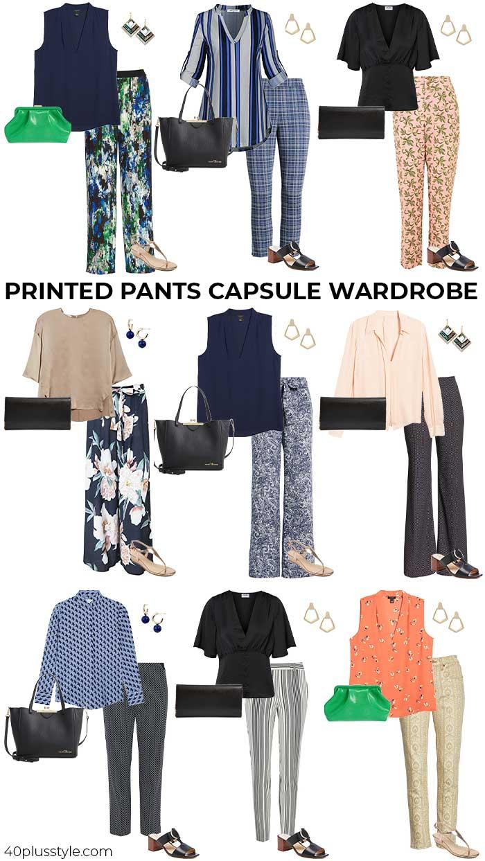 printed pants capsule wardrobe for summer   40plusstyle.com