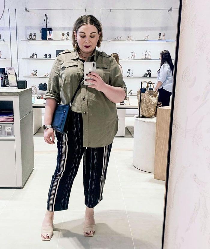 How to wear printed pants - Sara wearing stripe pants   40plusstyle.com