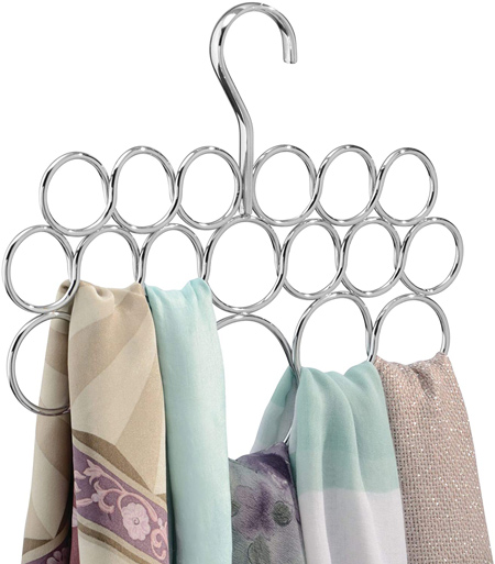 Clothes storage ideas - iDesign axis metal loop scarf hanger | 40plusstyle.com