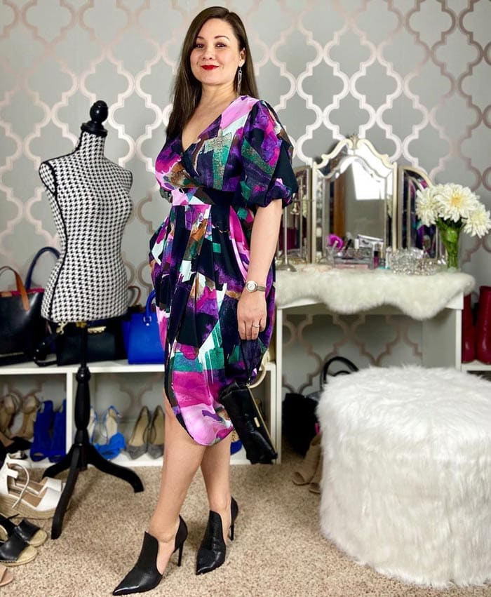 Suzie wears a jewel-colored wrap dress with black booties   40plusstyle.com