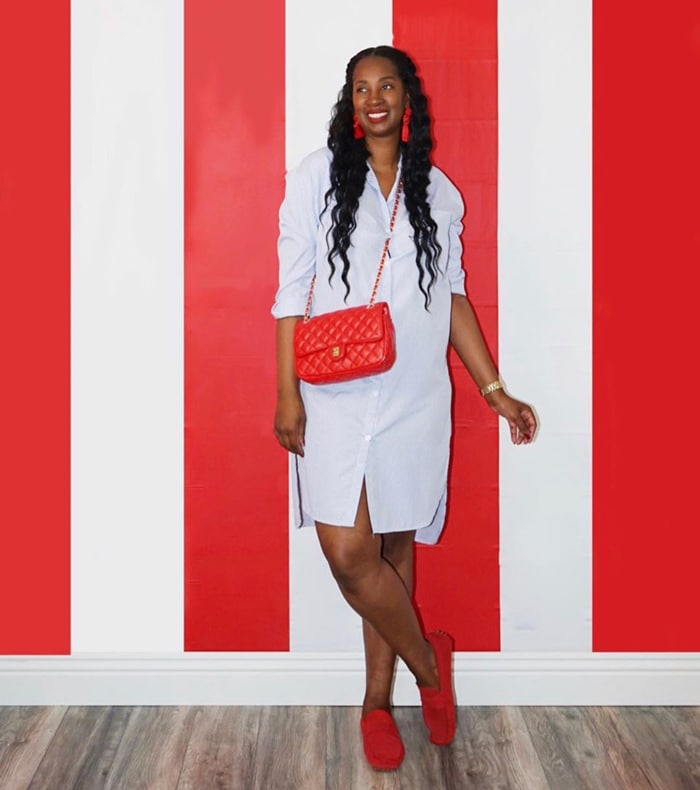 Tanasha matches her flat loafers to her bag and earrings | 40plusstyle.com