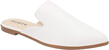 How to wear flat shoes - MAYPIE pointed toe mules   40plusstyle.com