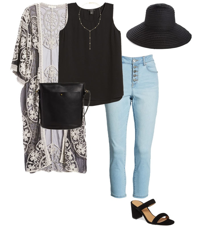 beach cover up with jeans and sandals | 40plusstyle.com