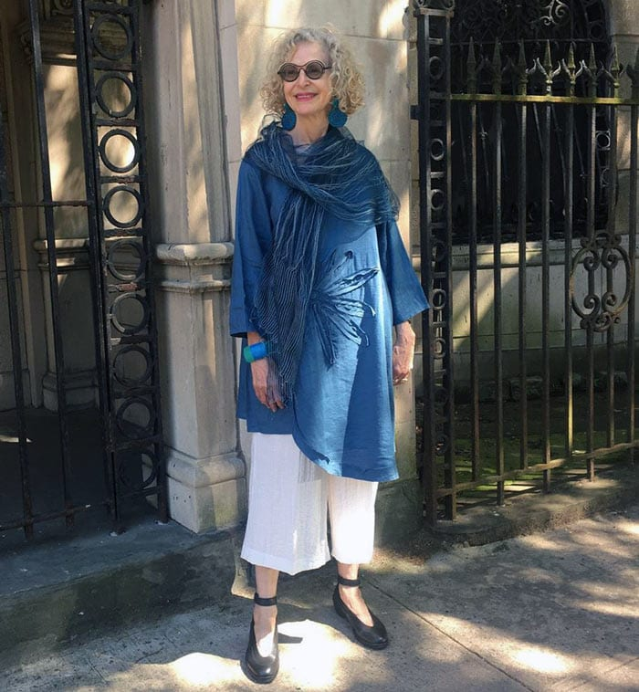 Dayle wears wide leg pants with her asymmetrical tunic   40plusstyle.com