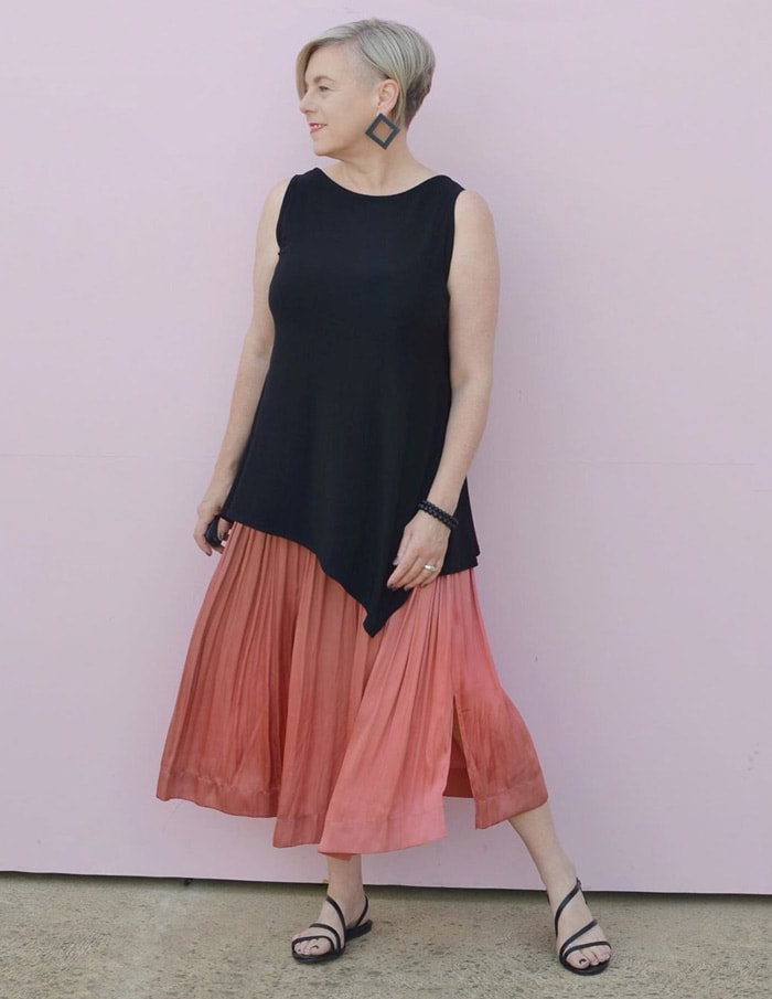 Deborah wears many elements of architectural fashion in her outfit   40plusstyle.com