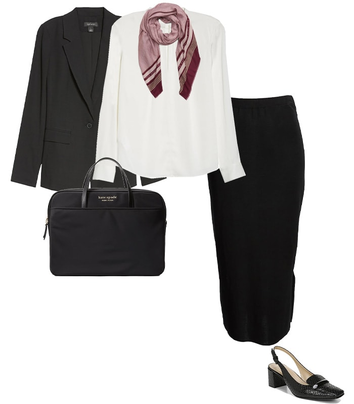 A pencil skirt and blzer outfit for a conference | 40plusstyle.com