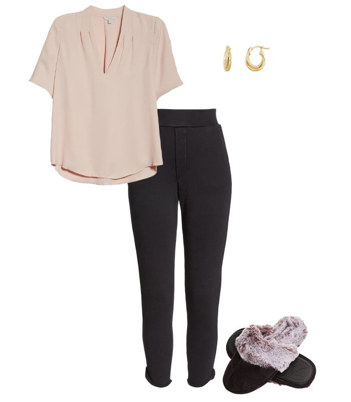 a top and pants outfit for a video conference | 40plusstyle.com