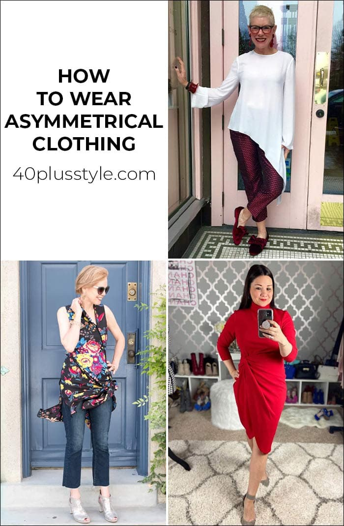 How to wear asymmetric clothing - lots of ideas and current items to buy right now!   40plusstyle.com