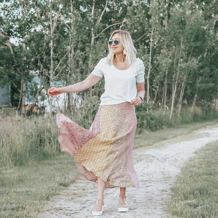 Jill wears her white tee with a maxi skirt   40plusstyle.com