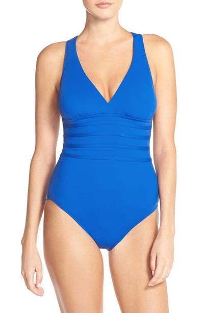 La Blanca Cross Back One-Piece Swimsuit | 40plusstyle.com