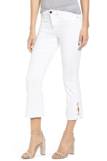 JEN7 by 7 For All Mankind lace-up hem crop bootcut jeans | 40plusstyle.com