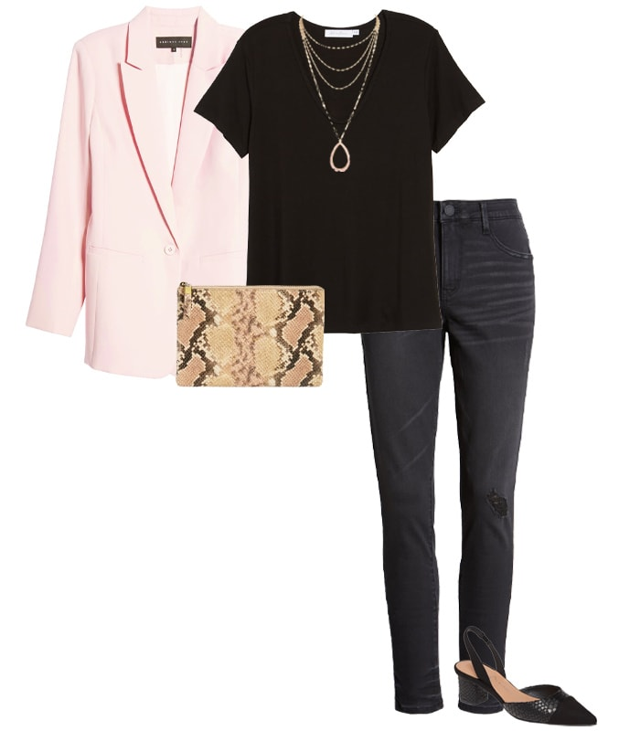 Pink and black outfit | 40plusstyle.com