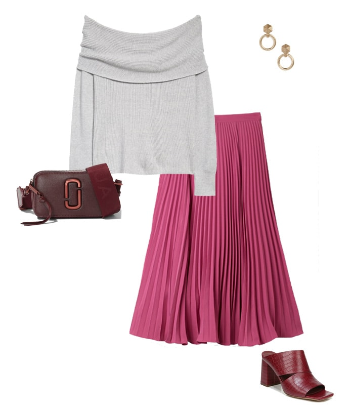 pink and gray outfit | 40plusstyle.com