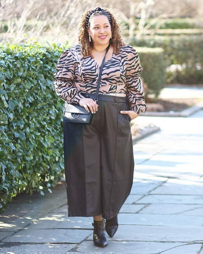 Sandra wearing a zebra print blouse | 40plusstyle.com