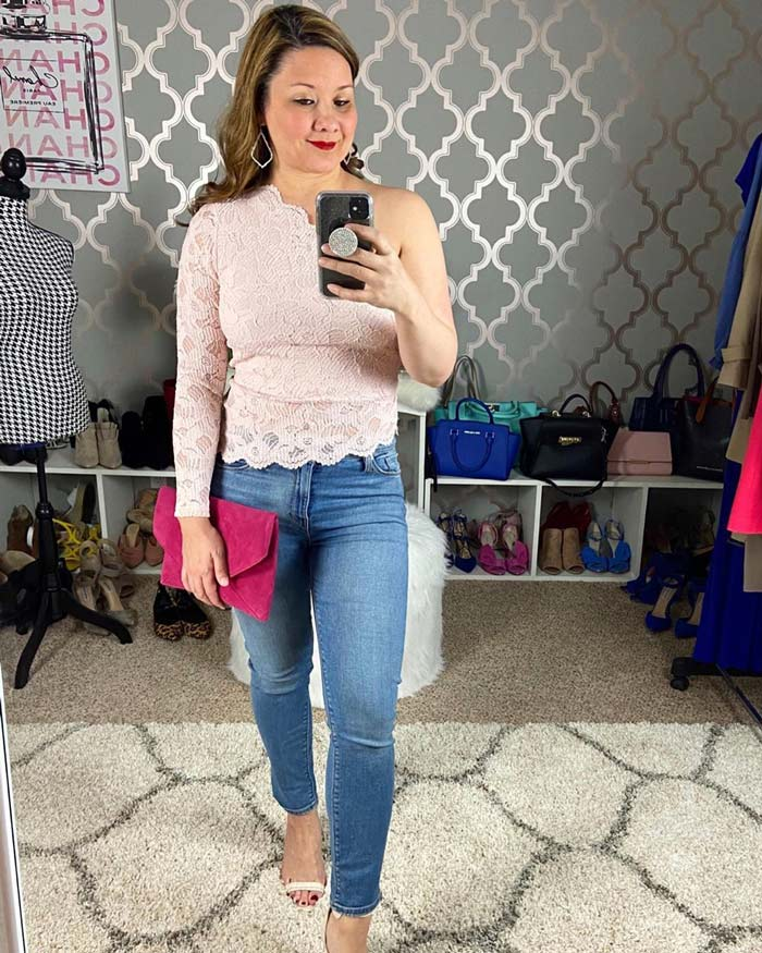 How to wear pink - Suzie wears a pink lace top | 40plusstyle.com