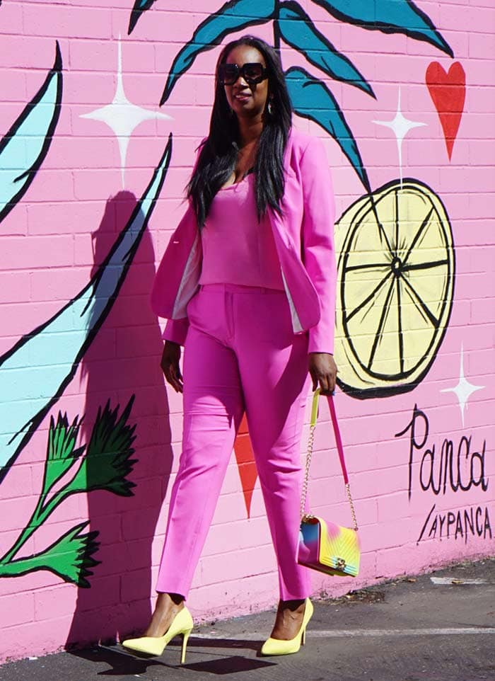 How to wear pink - Tanasha wears a pink and yellow outfit   40plusstyle.com