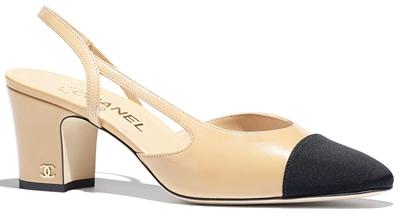 Best designer shoes - Chanel goatskin & grosgrain slingback | 40plusstyle.com