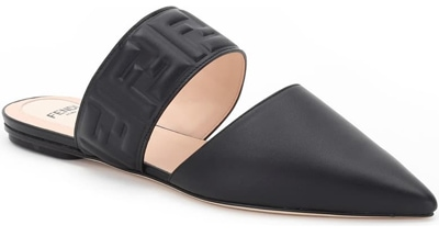 Best designer shoes - Fendi FF embossed logo pointed toe mule | 40plusstyle.com