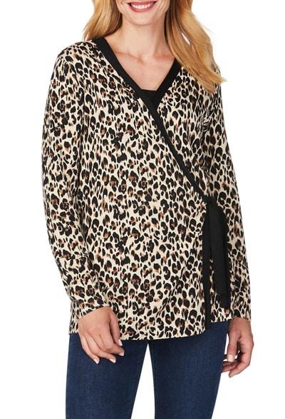 Foxcroft leopard wrap cardigan | 40plusstyle.com