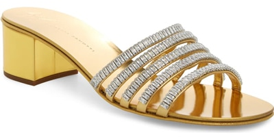 Best designer shoes - Giuseppe Zanotti crystal embellished slide sandal | 40plusstyle.com
