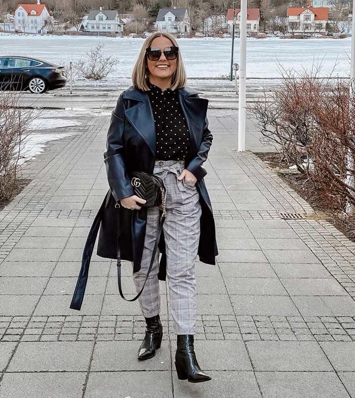 best winter coats for women - Jona in a long leather coat | 40plusstyle.com