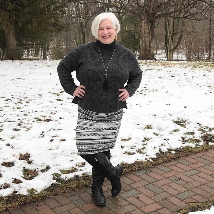 Best winter boots for women - Julie wears black riding boots   40plusstyle.com