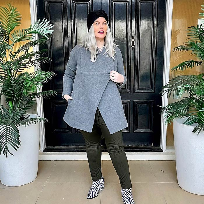 Mel wears a classic gray wool coat for fall | 40plusstyle.com