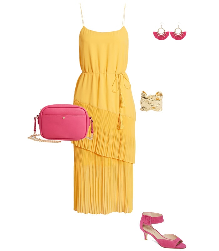 pink and yellow outfit | 40plusstyle.com