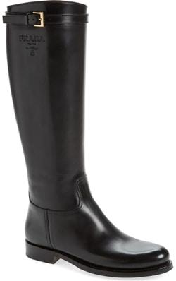 Best designer shoes - Prada knee high riding boot | 40plusstyle.com
