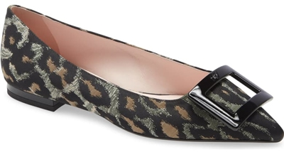 Roger Vivier 'Gommettine' buckle leopard pointed toe flat | 40plusstyle.com
