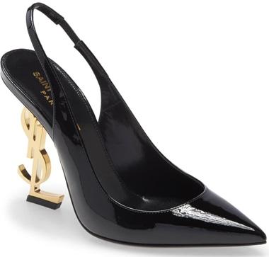 Best designer shoes - Saint Laurent 'Opyum' pointed toe slingback pump | 40plusstyle.com