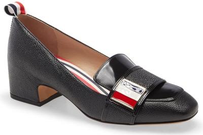 Best designer shoes - Thom Browne block heel loafer pump | 40plusstyle.com