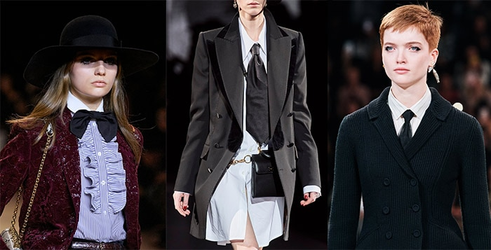 men's ties on the fall womenswear catwalks | 40plusstyle.com