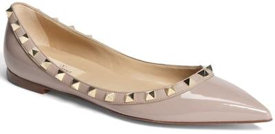 Best designer shoes - Valentino Garavani 'Rockstud 'pointed toe ballerina flat | 40plusstyle.com