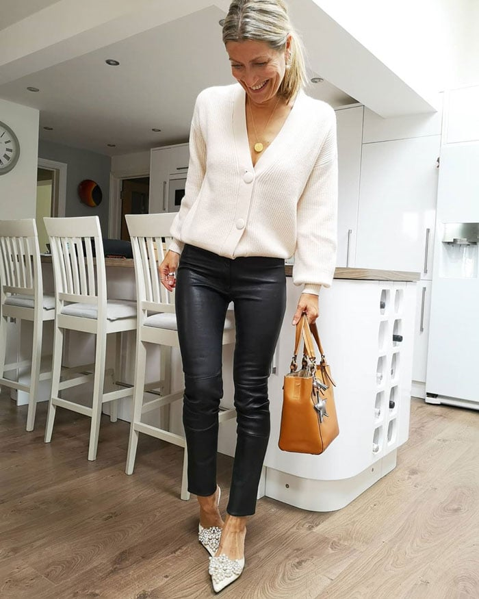 Abi wearing low heels party shoes | 40plusstyle.com