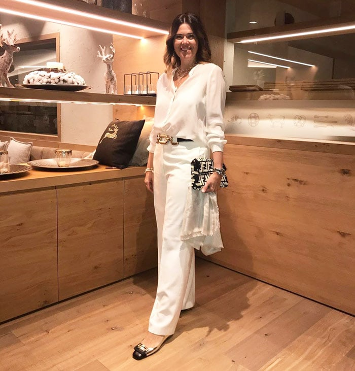 Elke wearing metallic low heel party flats | 40plusstyle.com