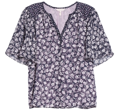 Rebecca Taylor floral mix silk blend top | 40plusstyle.com